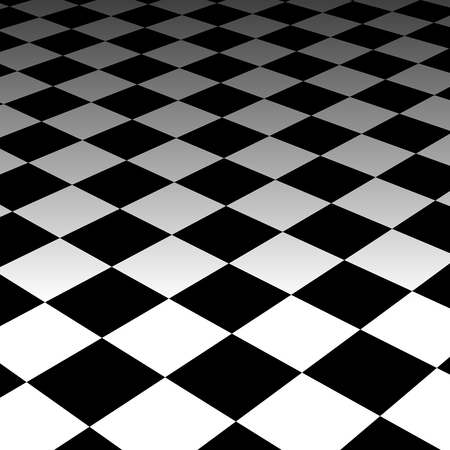 fading: Surrealistic background. Vanishing, fading checkered plane. Vector art.