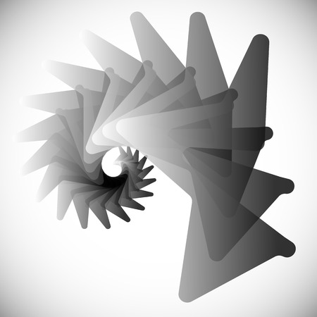 abstractionism: Abstract spiral element with rotated shapes. Vector art.