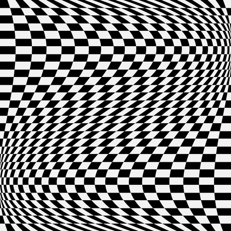 Checkered, chequered pattern with wavy distortion. Vector art.