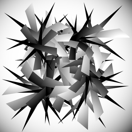 pointed to: Abstract graphic with pointed, random, scattered shapes.