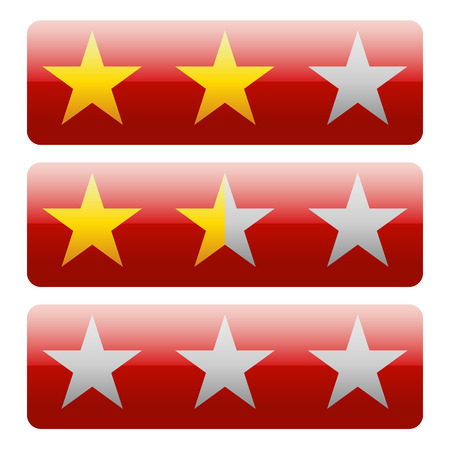 valuation: Star rating graphics with 3 stars for review, rating, ranking concepts.
