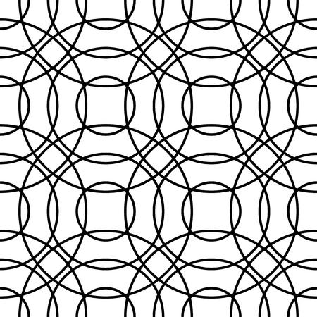 interlocking: Outline of interlocking circles. Seamlessly repeatable pattern. Vector art. Illustration