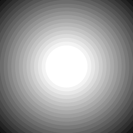 Blended grayscale concentric circles blank background. Vector art.