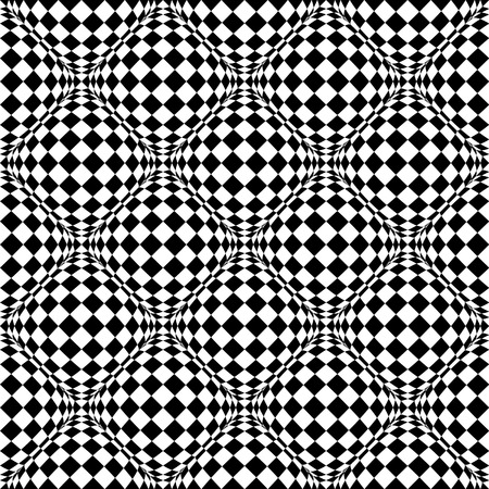 eyestrain: Seamless pattern with bulging distortion on checkered surface. Vector art.