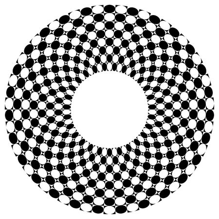 chequered: Checkered, chequered ring with square and circles fill. Vector art.