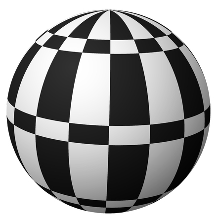 abstractionism: Sphere with checkered surface on white. Vector art. Vectores