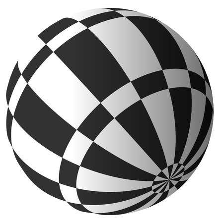 surrealistic: Sphere with checkered surface on white. Vector art. Illustration