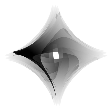 Abstract squarish element on white. Vector art.