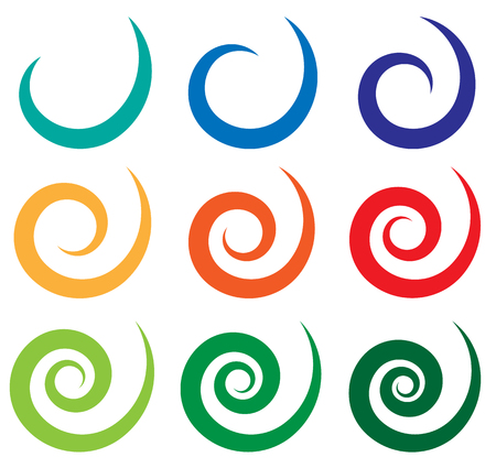 Set of different spiral, swirl, twirl shapes