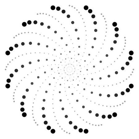 dotted: Dotted circular motif, dotted spiral pattern. Vector.