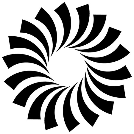 spire: Spiral, vortex, swirl or twirl abstract monochrome graphic. Vector.
