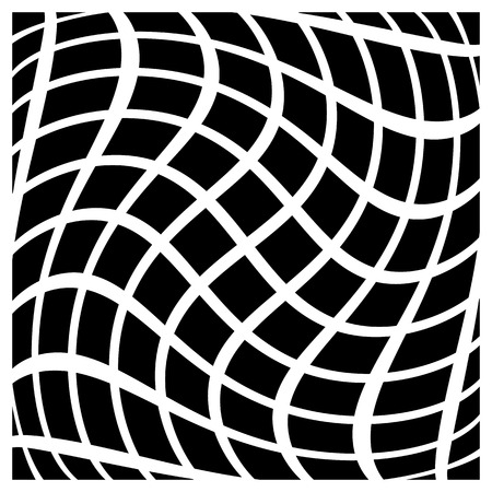 distortion: Abstract grid with twisting distortion. Vector art.