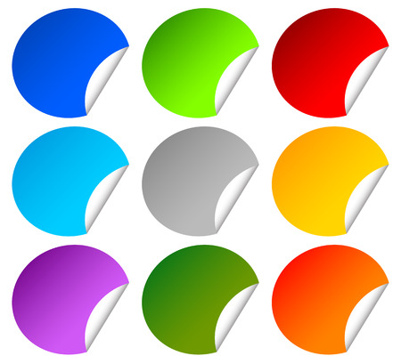 blank space: Colorful peeling stickers on white with blank space