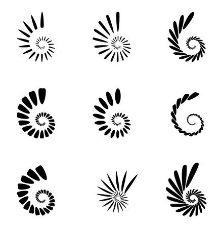 abstractionism: Spiral, vortex, swirl or twirl abstract monochrome graphic. Vector.