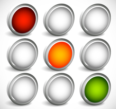 proceed: Traffic lamps, traffic lights, semaphore vector illustration