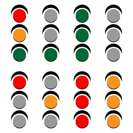 trafic stop: Traffic lamps, traffic lights, semaphore vector illustration