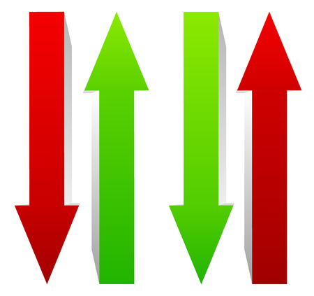market bottom: Green and red, up and down arrow. Vector.