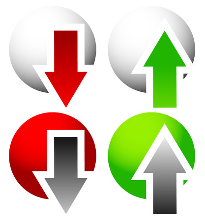 ascend: Green and red, up and down arrow. Vector.