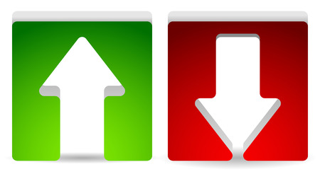 descend: Green and red, up and down arrow. Vector.