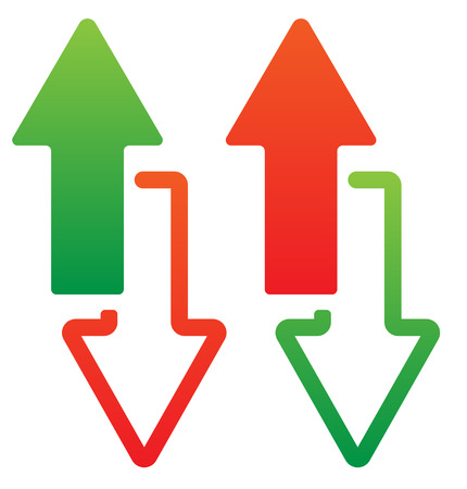 escalate: Green and red, up and down arrow. Vector.