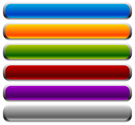 elongated: Set of rectangular buttons with rounded corners. Colorful banner, button backgrounds with empty space. Horizontal bars.