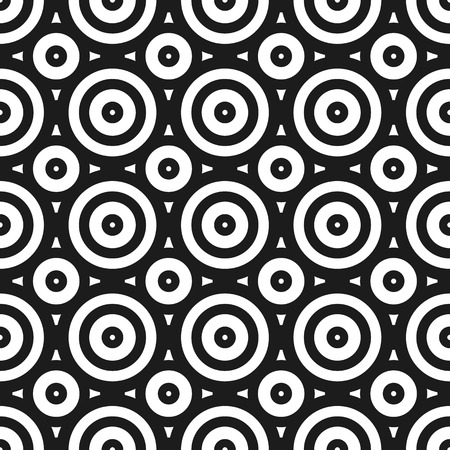 abstractionism: Simple seamless geometric pattern with circles. Repeatable monochrome abstract background.