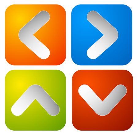 arrowheads: Colorful rounded square arrow buttons with arrowheads Illustration