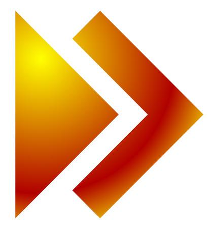 arrowhead: Double arrow, arrowhead pointing right. Next, forward button, icon. Illustration