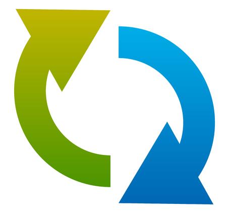 flechas curvas: icono de la flecha circular. Dos flechas curvas que señalan el uno contra el otro. Vectores