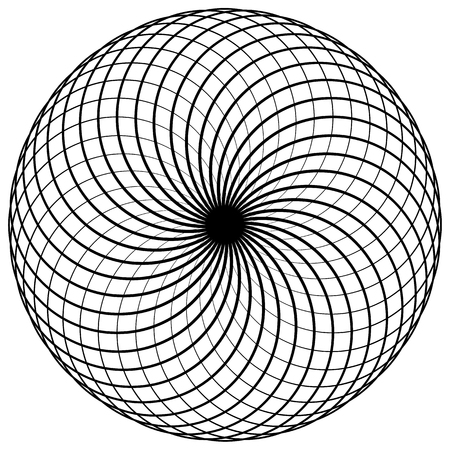 intersecting: Abstract spirograph element. Concentric circles with intersecting outlines. Illustration