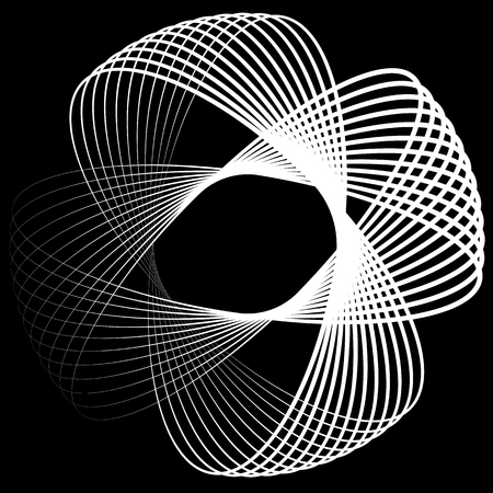 gyration: Abstract vector element: Circular shape with intersecting lines. Vortex, twirl shape.