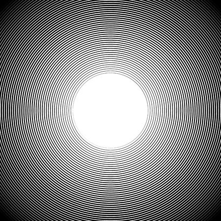 radiating: Concentric radiating circles abstract monochrome vector graphic. Illustration