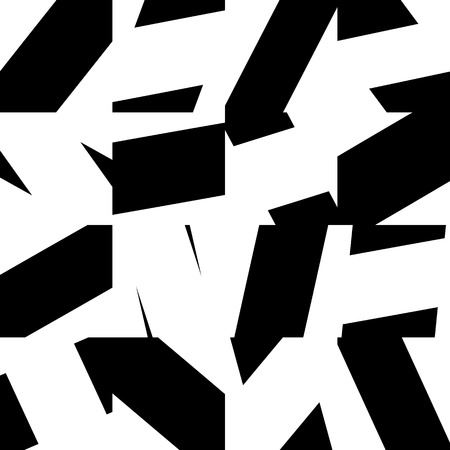 shatter: Abstract minimal monochrome pattern with mosaic of random, scattered shapes. Seamlessly repeatable geometric black and white background