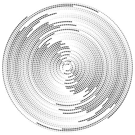 círculos concéntricos elemento abstracto. Radiantes, círculos radiales, efecto dominó. Ilustración de vector