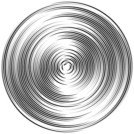 Concentric circles abstract element. Radiating, radial circles, ripple effect.