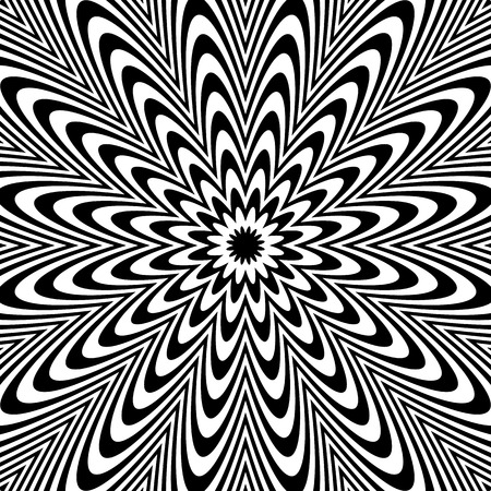 deformation: Radial black white lines with deformation. Abstract background. Illustration