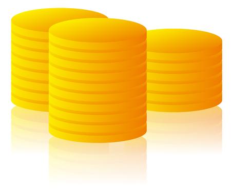 golden coins: Stack, pile of golden coins. Vector illustration. Illustration