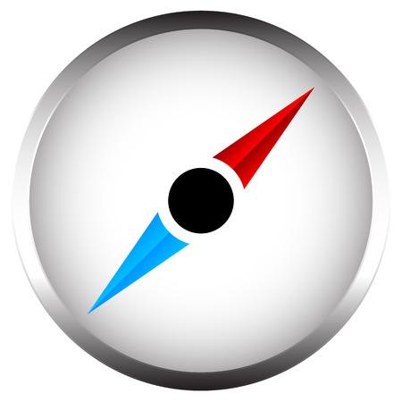metallic border: Compass with metallic border. Compass vector icon isolated on white.