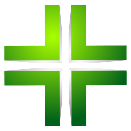 generic: Generic 3d cross icon, double cross design element.