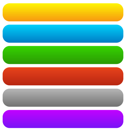 corner tab: Empty button, banner backgrounds, horizontal rectangles with rounded corners in several colors. Illustration
