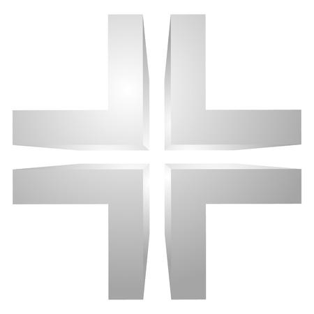 double cross: Generic 3d cross icon, double cross design element.
