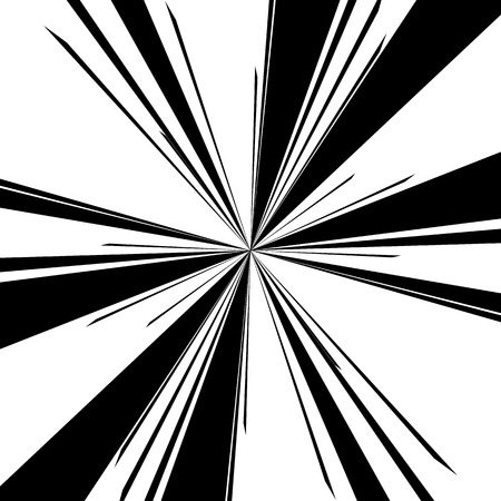 converging: Radiating, converging lines. Abstract monochrome vector element. Irregular radial lines.
