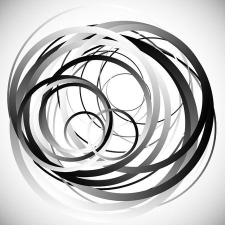 entanglement: Random intersecting circles, rings. Abstract monochrome, grayscale vector element.