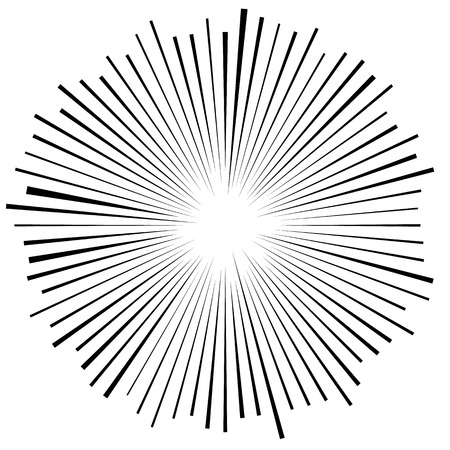 pointed to: Bursting, radiating lines. Converging, pointed abstract element. Vector