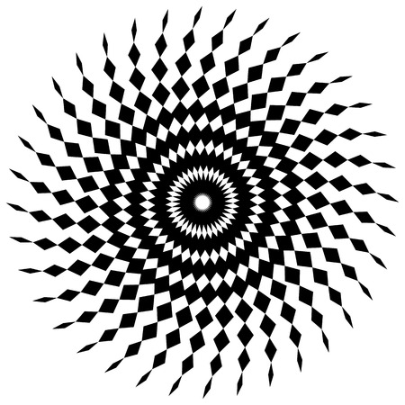 angular: Abstract spiral shape in angular style. Monochrome vector art.