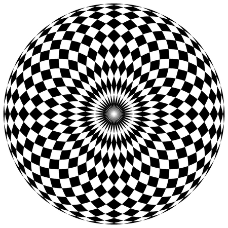 blocky: Abstract checkered circle element on white. Radiating squares mapped in a circle.