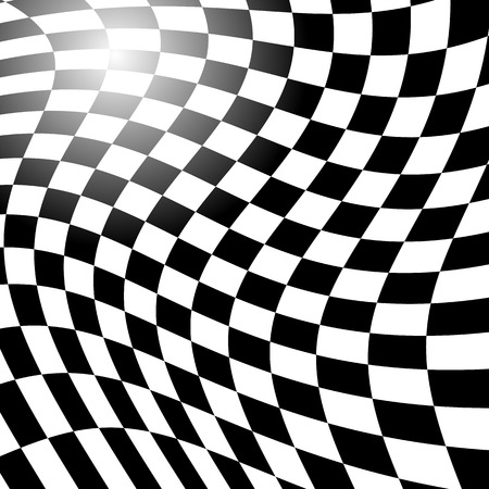 distortion: Checkered, squared pattern with distortion effect. Abstract vector art. Illustration