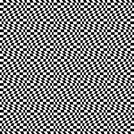 eyestrain: Repeatable checkered abstract pattern  background  texture with distortion. Illustration