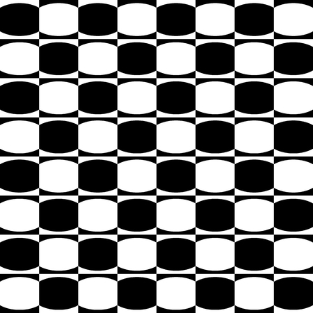 eyestrain: Abstract monochrome geometric pattern with mosaic of oval shapes. Black and white seamlessly repeatable background.