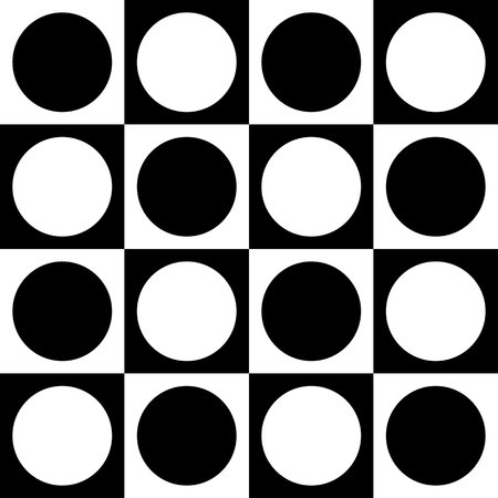 Simple monochrome checkered pattern with circle and squares shapes. Seamlessly repeatable. Minimalist background. Illustration